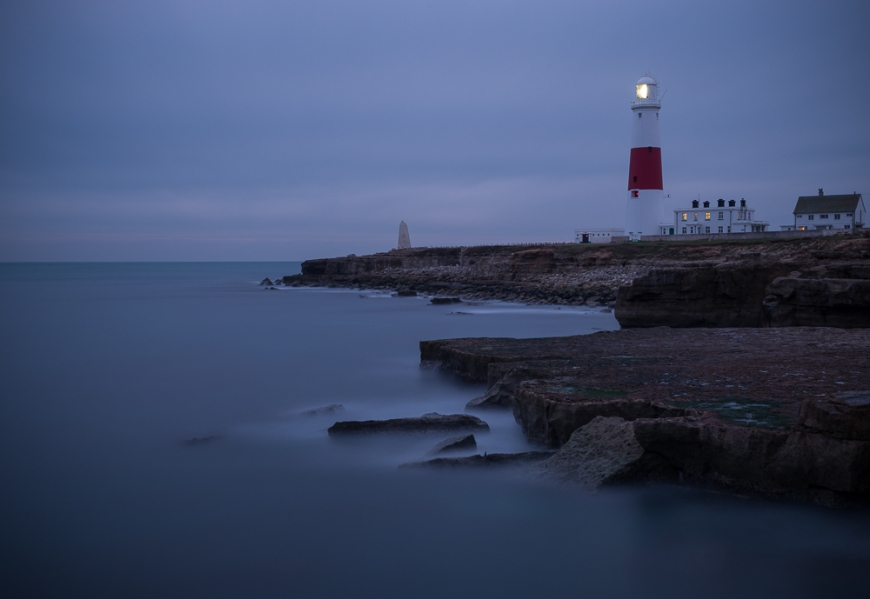 Portland Bill Lighthouse at dusk, Portland, Dorset, England