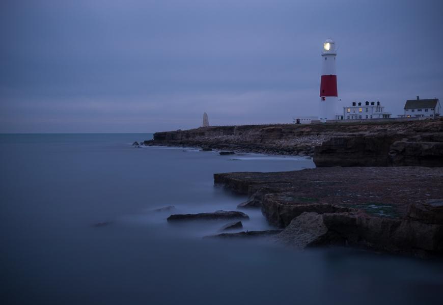 Portland Bill Lighthouse at dusk, Portland, Dorset, England