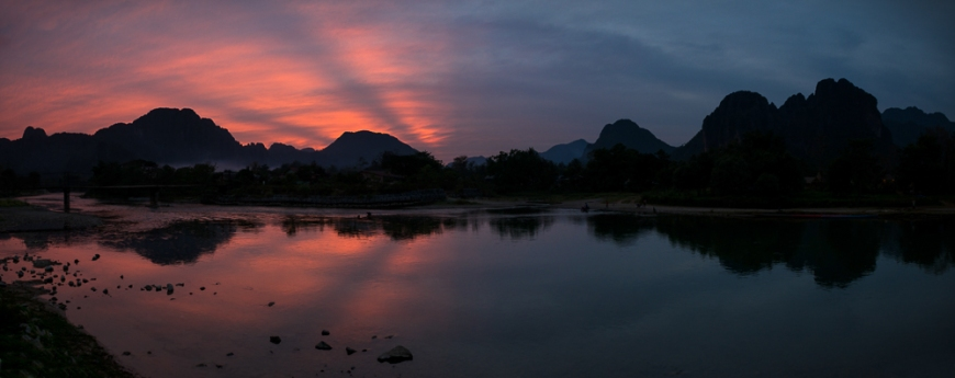 Nam Song River at Dusk, Vang Vieng, Laos, Indochina, Asia