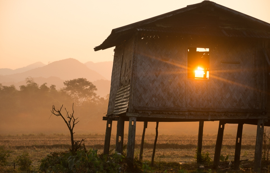 Sunrise over countryside near Vang Vieng, Laos, Indochina, Asia