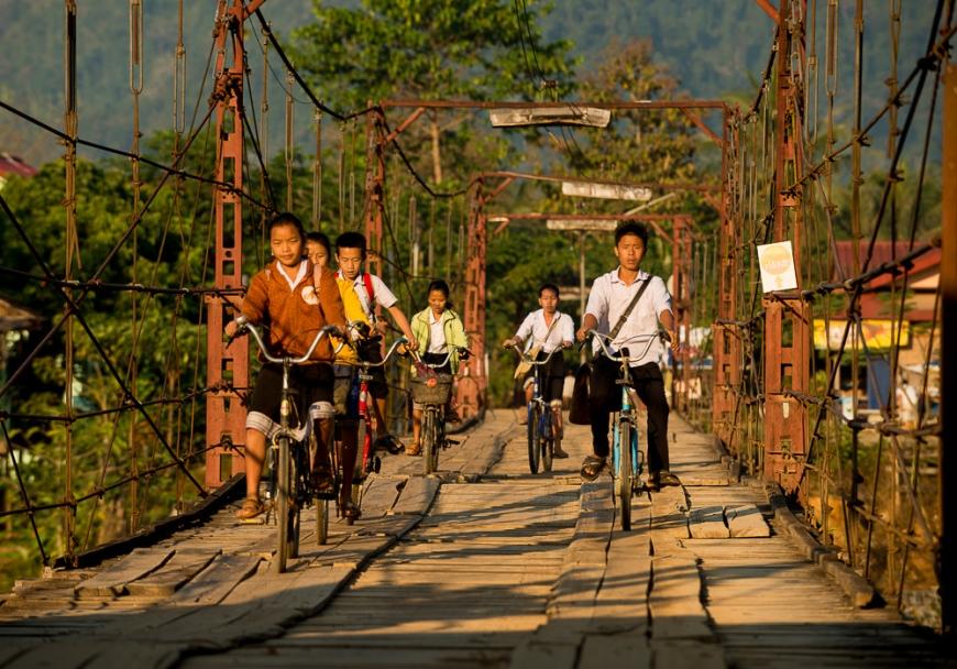 Morning Traffic over bridge, Vang Vieng, Laos, Indochina, Asia