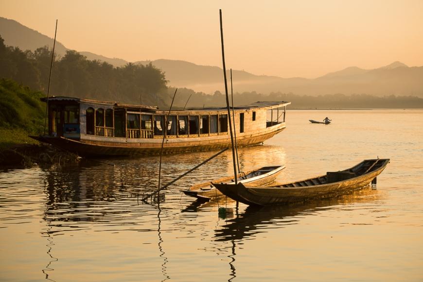 Boats on Mekong River, Luang Prabang, Laos, Indochina, Asia