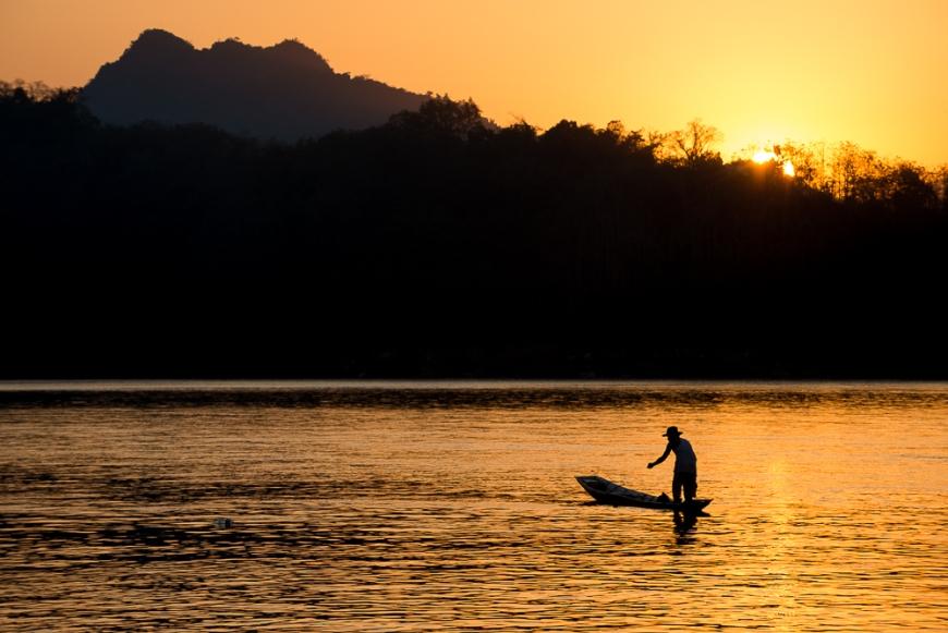 Fishing Boat on Mekong River, Luang Prabang, Laos, Indochina, Asia