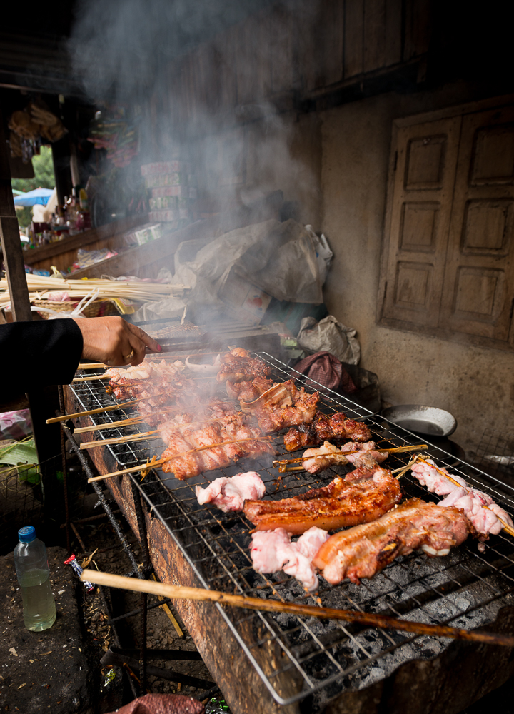 BBQ Stall, Morning Market, Luang Prabang, Laos, Indochina, Asia
