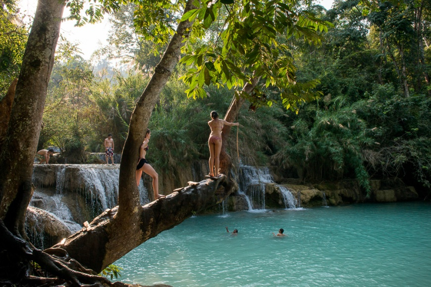 Kouang Si Waterfalls, Luang Prabang, Laos, Indochina, Asia