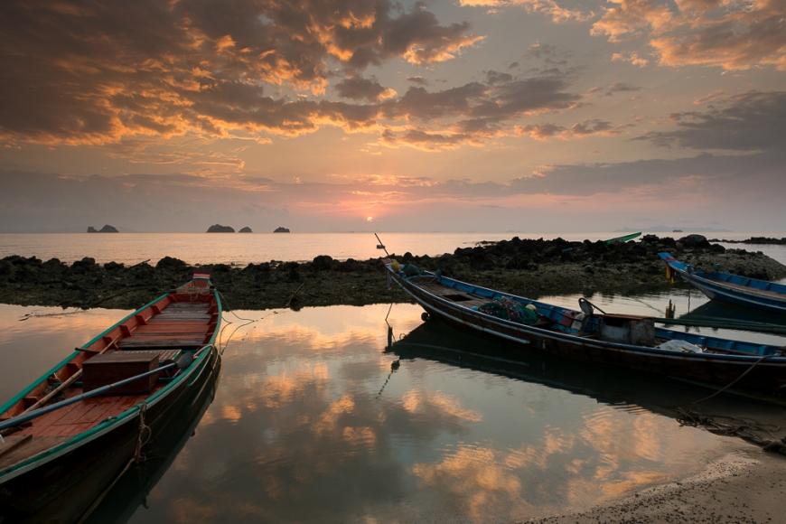 Longtail Boats at Sunset, Taling Ngam Beach, Ko Samui Island, Surat Thani, Thailand