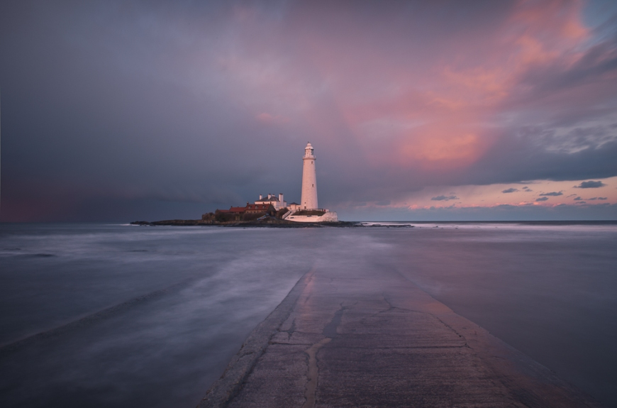 St Mary's Lighthouse, Holy Island, Northumberland, England