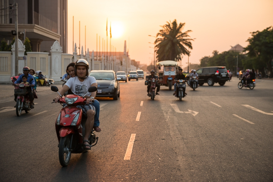 View from Remork-Moto of traffic, Phnom Penh, Cambodia