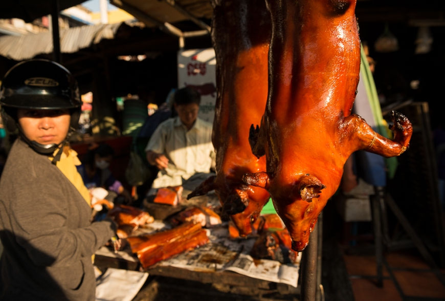 Meat in Food market, Phnom Penh, Cambodia