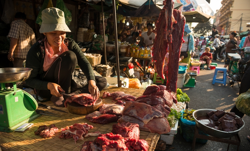 Butcher at Food market, Phnom Penh, Cambodia