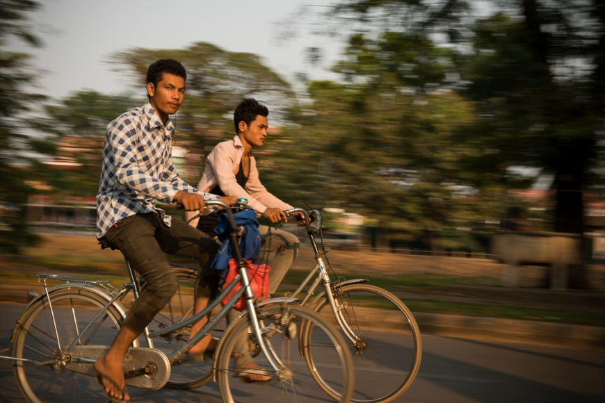 Panning shot of Traffic, Angkor, Siem Reap, Cambodia