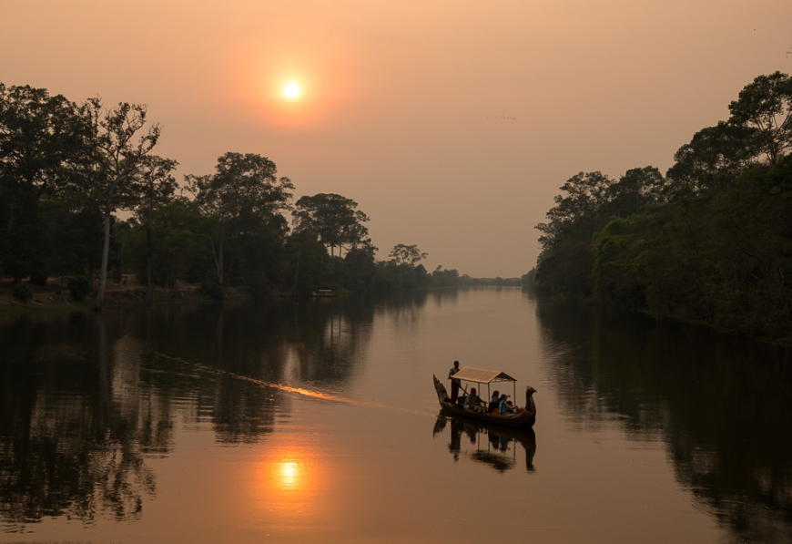 Sunset over Moat, Southern Gate, Angkor Thom, Angkor, Siem Reap, Cambodia