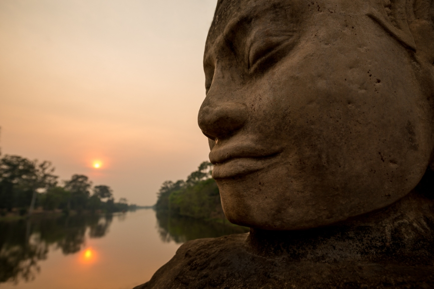 Faces of Deva and Asura's, Southern Gate, Angkor Thom, Angkor, Siem Reap, Cambodia