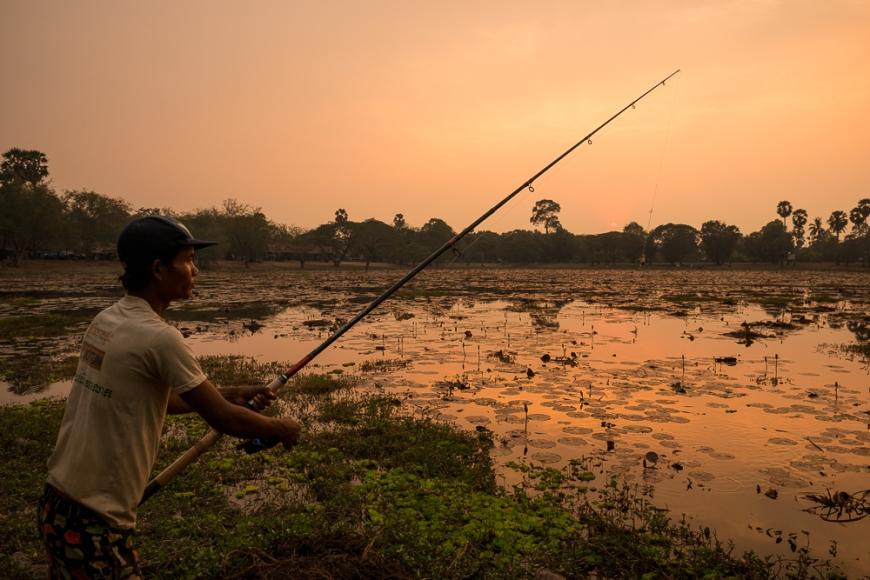 Man fishing in Lake, Angkor, Siem Reap, Cambodia