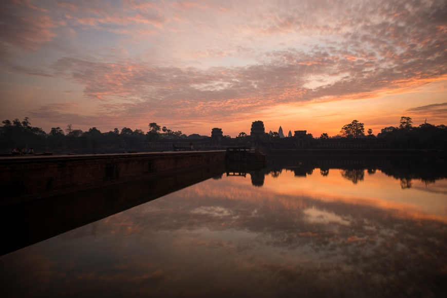 Sunrise over Moat, Angkor Wat, Siem Reap, Cambodia