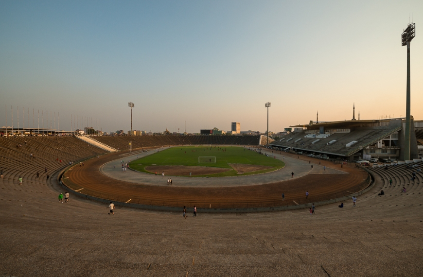 Olympic Stadium at dusk, Phnom Penh, Cambodia, Indochina, Asia
