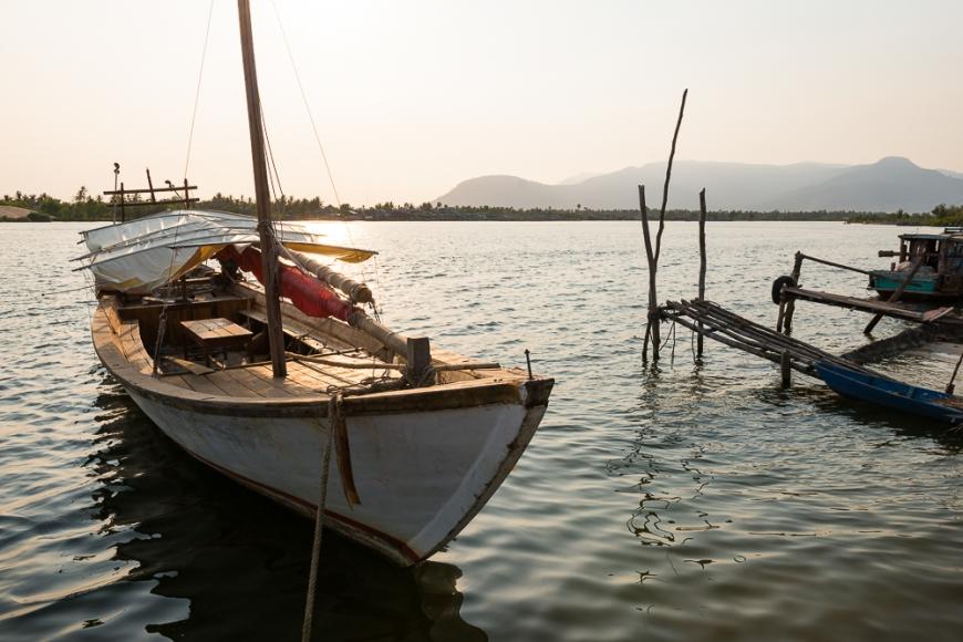 Boat moored, Kampot, Cambodia, Indochina, Asia