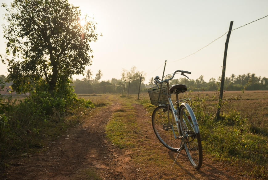 Vintage Bicycle, Fields near, Kampot, Cambodia, Indochina, Asia