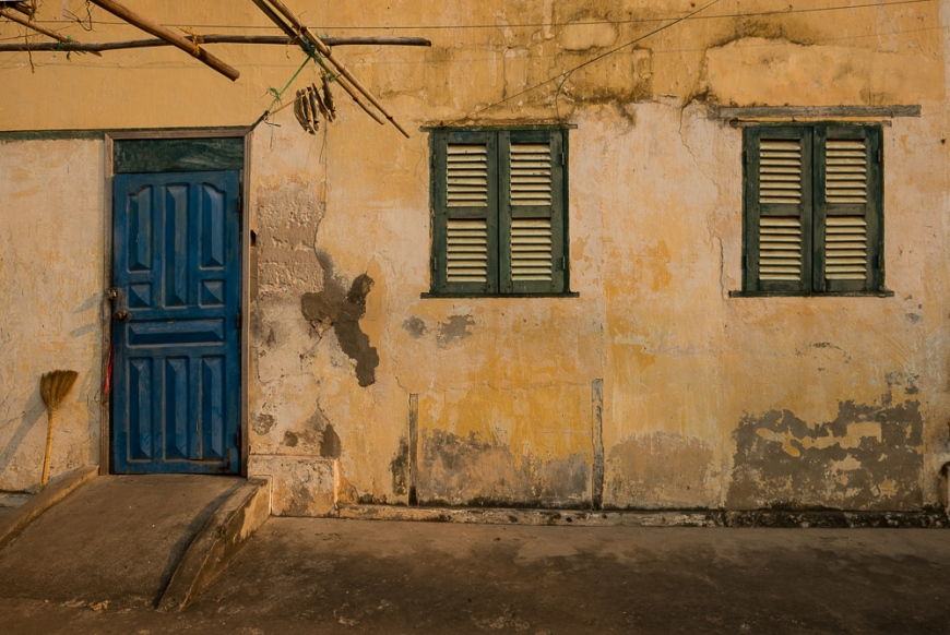 Facade of Building, Kampot, Cambodia, Indochina, Asia