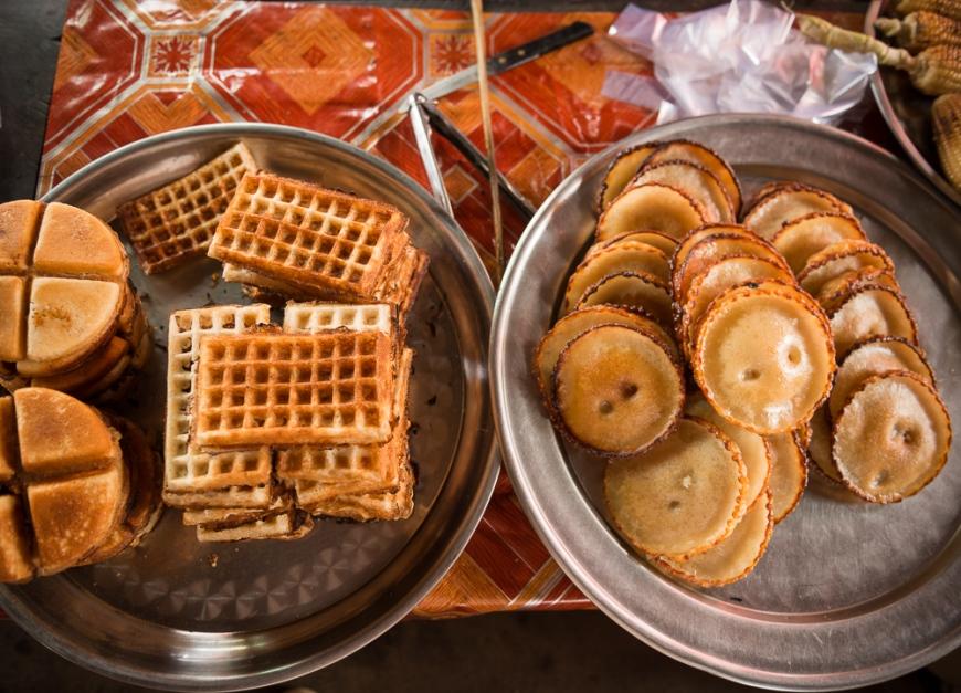 Fresh Snacks at Crab Market, Kep, Kep Province, Cambodia, Indochina, Asia