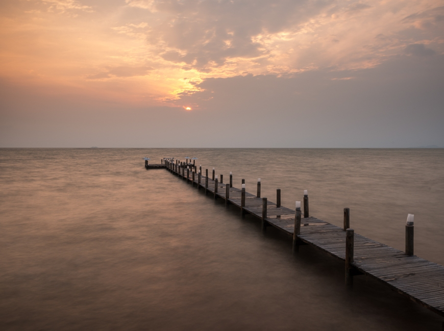 Jetty at dusk, Sailing Club, Kep, Kep Province, Cambodia, Indochina, Asia