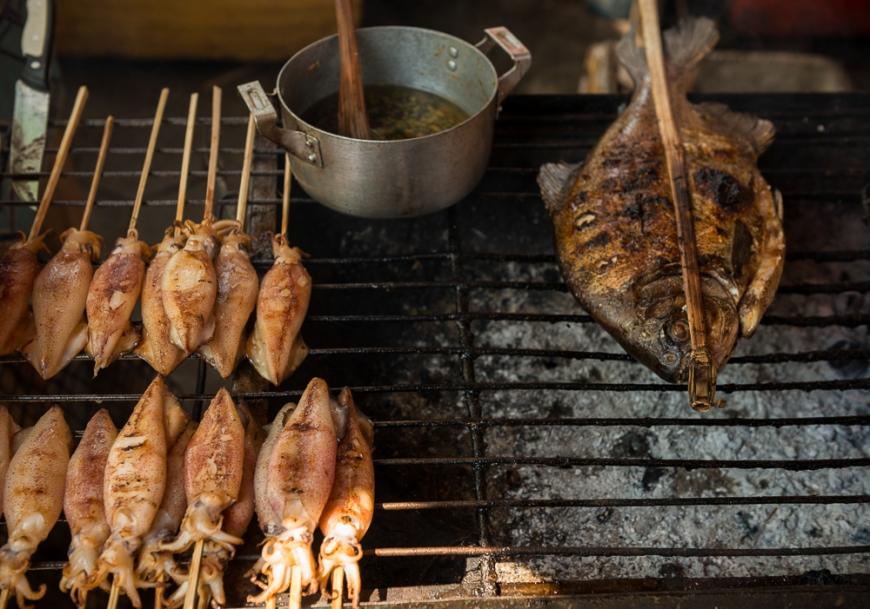 BBQ Stalls at Crab Market, Kep, Kep Province, Cambodia, Indochina, Asia