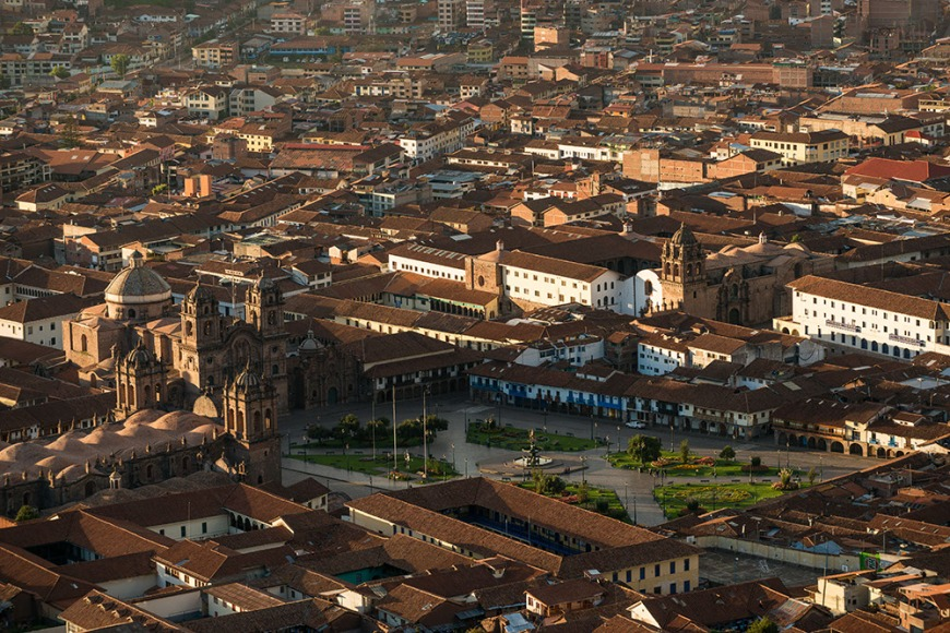 View over Cusco at dawn from Saqsaywamán, Cusco, Peru