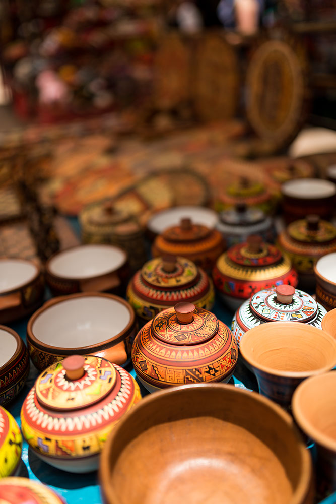 Pottery for sale at Pisac Textiles Market, Sacred Valley, Peru