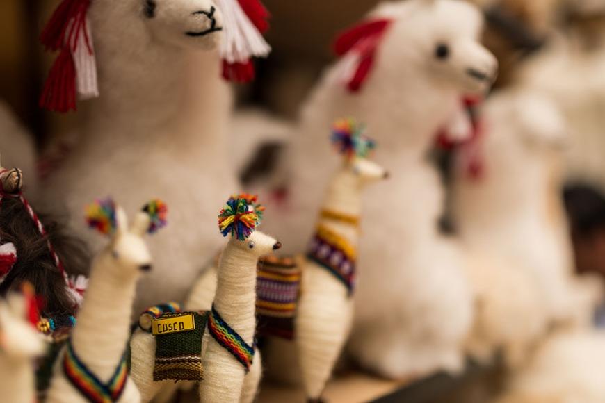Alpaca toys for sale at Pisac Textiles Market, Sacred Valley, Peru