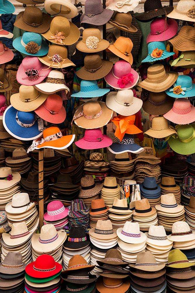 Hat stall, Pisac Textiles Market, Sacred Valley, Peru