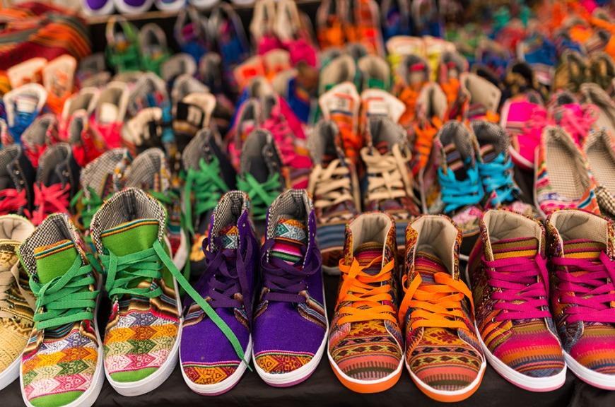Shoe stall, Pisac Textiles Market, Sacred Valley, Peru