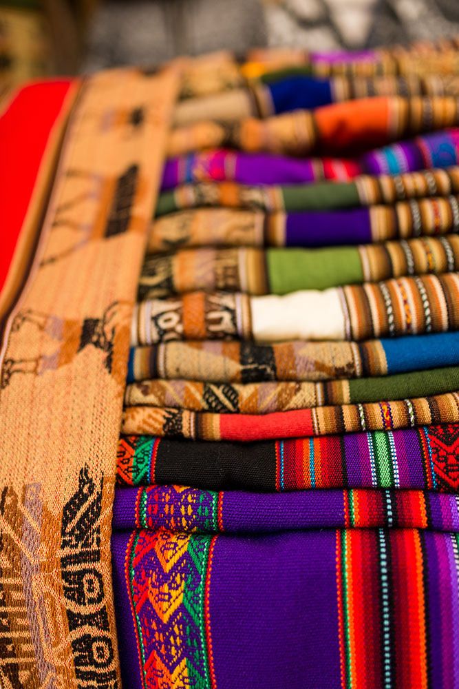 Traditional Textiles at Pisac Textiles Market, Sacred Valley, Peru