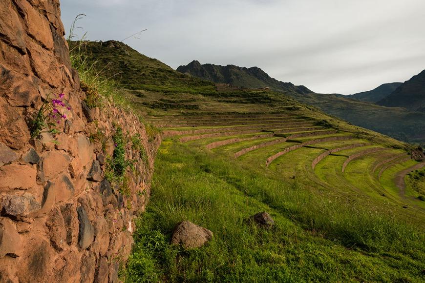 View from Inca Citadel of Pisac Ruins, Pisac, Sacred Valley, Peru