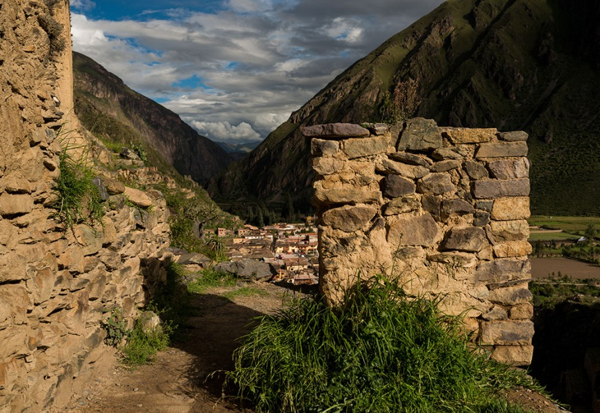 Ollantaytambo Ruins with Village of Ollantaytambo in background, Sacred Valley, Peru
