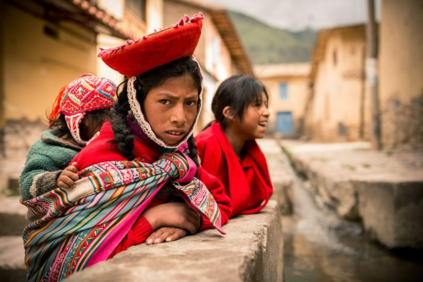 Portrait of Lurdes in traditional dress, Ollantaytambo, Sacred Valley, Peru