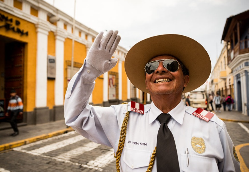 Portrait of Traffic Officer: Eloy Vera Neira outside Monasterio de Santa Catalina,  Arequipa, Peru