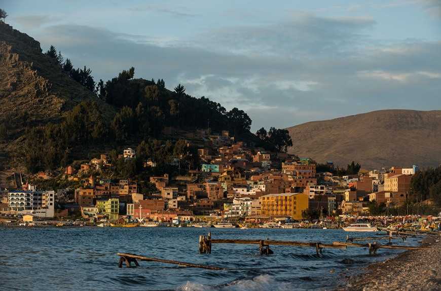Copacabana Beach in the late afternoon, Lake Titicaca, Bolivia