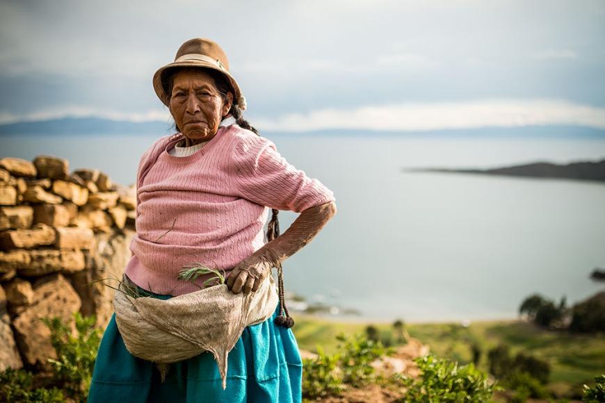 Portrait of farmer, Yumani, Isla del Sol, Lake Titicaca, Bolivia