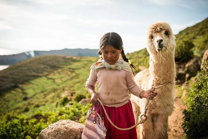 Portrait of Rayna with Llama, Isla del Sol, Lake Titicaca, Bolivia