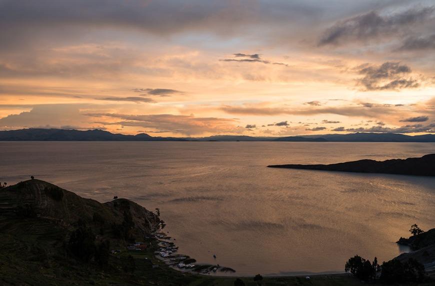 View west from Yumani, Isla del Sol, Lake Titicaca, Bolivia