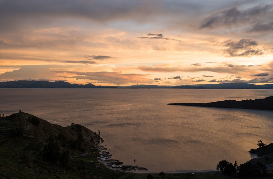 View west from Yumani, Isla del Sol, Lake Titicaca, Bolivia