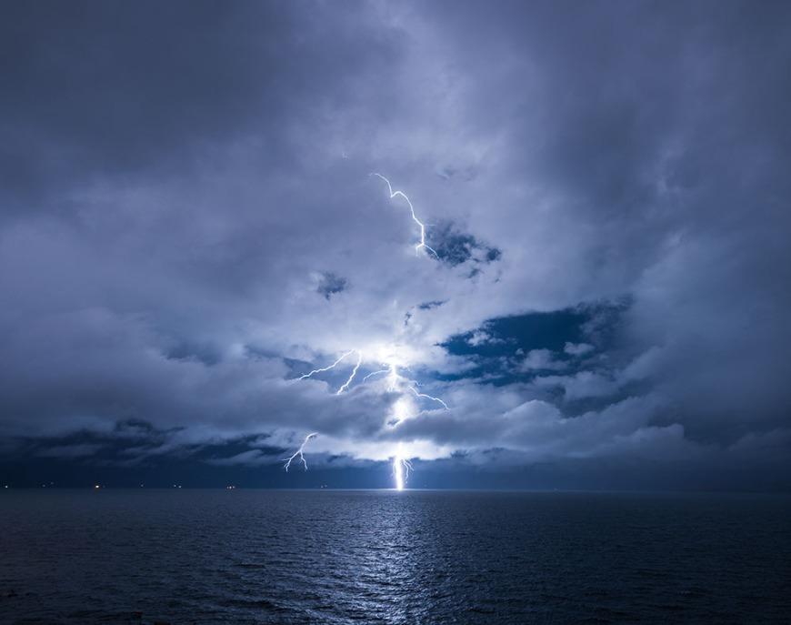 Lightening storm over Yumani Bay, Isla del Sol, Lake Titicaca, Bolivia