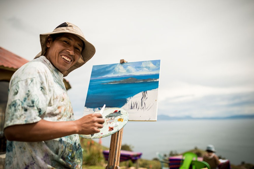 Portrait of painter Edwin Vargas at work, Isla del Sol, Lake Titicaca, Bolivia