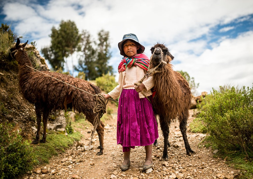 Portrait of Mariel with her two Llamas, Isla del Sol, Lake Titicaca, Bolivia