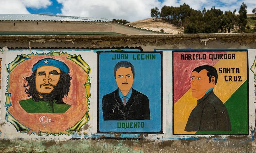 Murals, Challa, Isla del Sol, Lake Titicaca, Bolivia