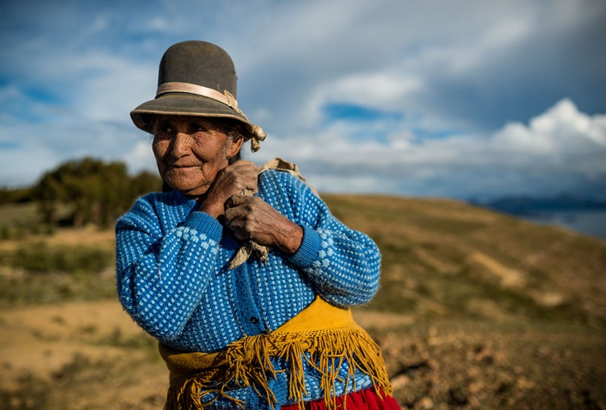 Portrait of local Bolivian woman, Isla del Sol, Lake Titicaca, Bolivia