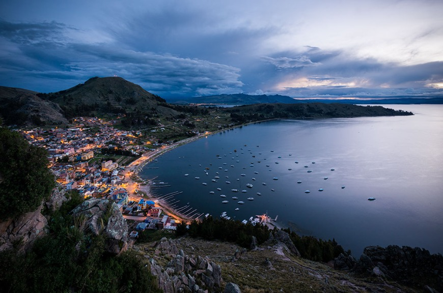 View from Cerro Calvario of Copacabana at dusk, Copacabana, Lake Titicaca, Bolivia