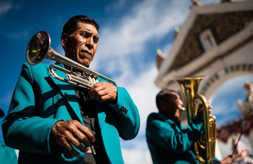 Musicians, Fiesta de la Virgen de la Candelaria, Copacabana, Lake Titicaca, Bolivia