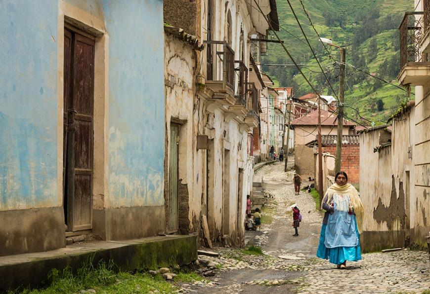 Traditional cobbled street in Sorata, Cordillera Real, Bolivia
