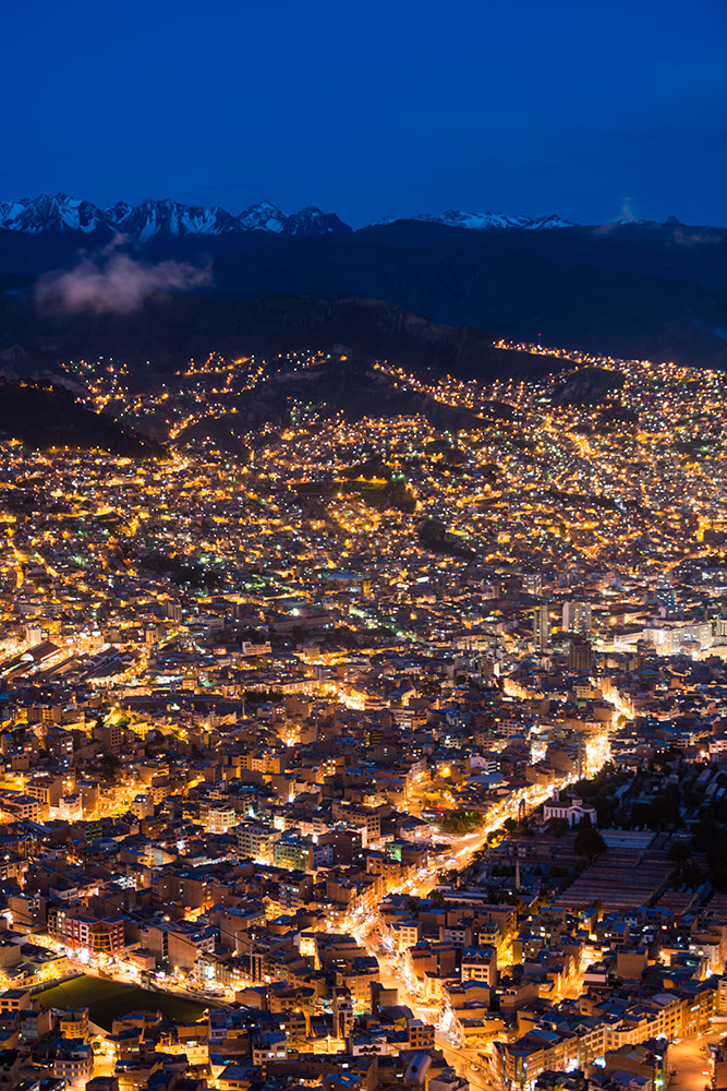 View of La Paz at night from El Alto, La Paz, Bolivia
